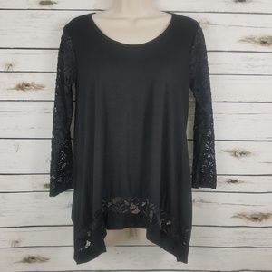 Black Small Top Lace Sleeves Kate & Mallory NWOT